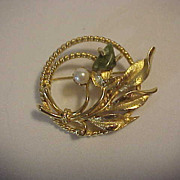 Jade & Pearl Garden Vintage Pin by Sarah Coventry