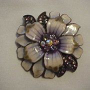 Large Pin Brooch Enameled Purple Pink w\ Rhinestones Layered