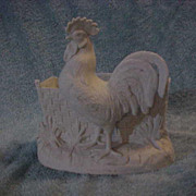 White Bisque Planter Rooster Basket weave Fence Large