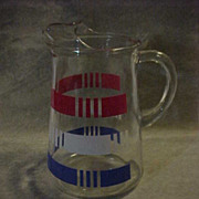Large Clear Vintage Pitcher w\ Red White Blue