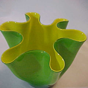 Vintage Italian Green Yellow GLass Bowl Vase  A Stunner