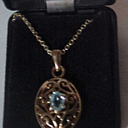 Blue Topaz Necklace  Gold Tone Pendant & Chain
