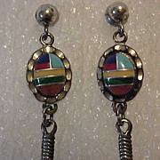 Pierced Earrings Sterling  Mosaic Inlay w Mixed Stones w Feather Dangle