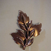 Renoir Copper Double Leaf Pin Brooch