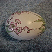 Enamel Covered  Egg Shaped Covered Box Flower design