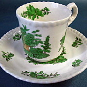 SOLD Spode Demitasse Cup and Saucer with Basket of Irish Green Flowers