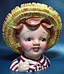 Huck Finn Head Vase Young Boy in Straw Hat by Lefton