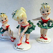 "SOLD ""Little Miss Mistletoe"" Dancing Christmas Figurines Set Lefton"