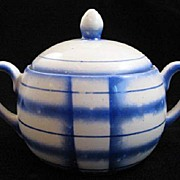 Retro Blue Plaid Sugar Bowl Erphila Czech