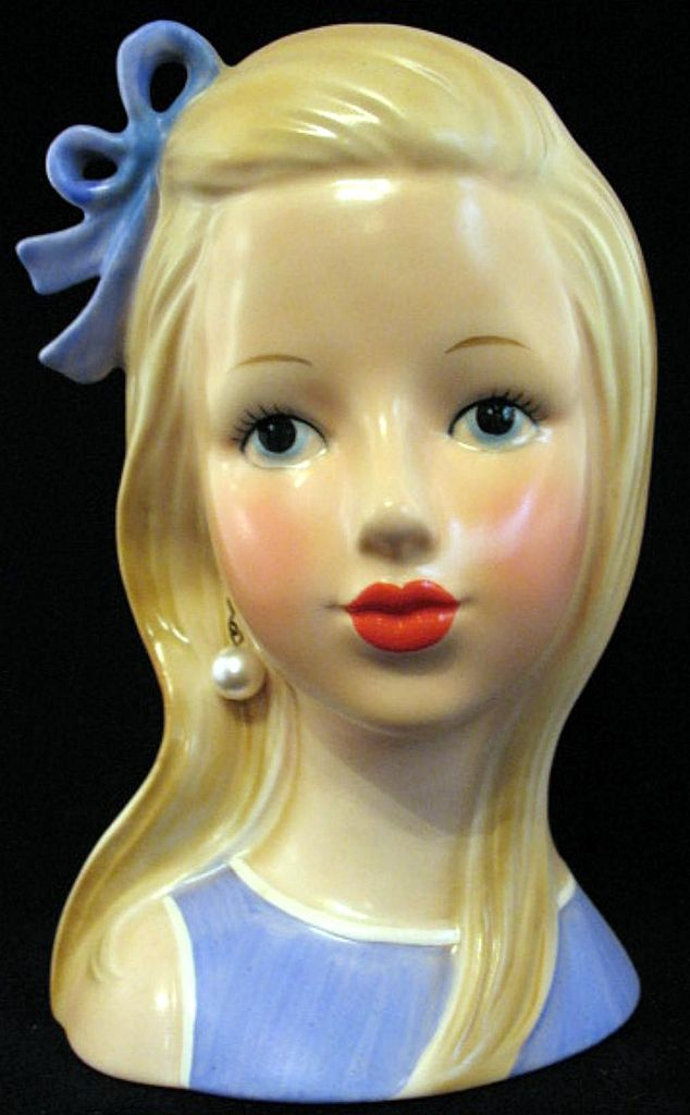 Rare Blonde Teen Head Vase Planter in Sky Blue