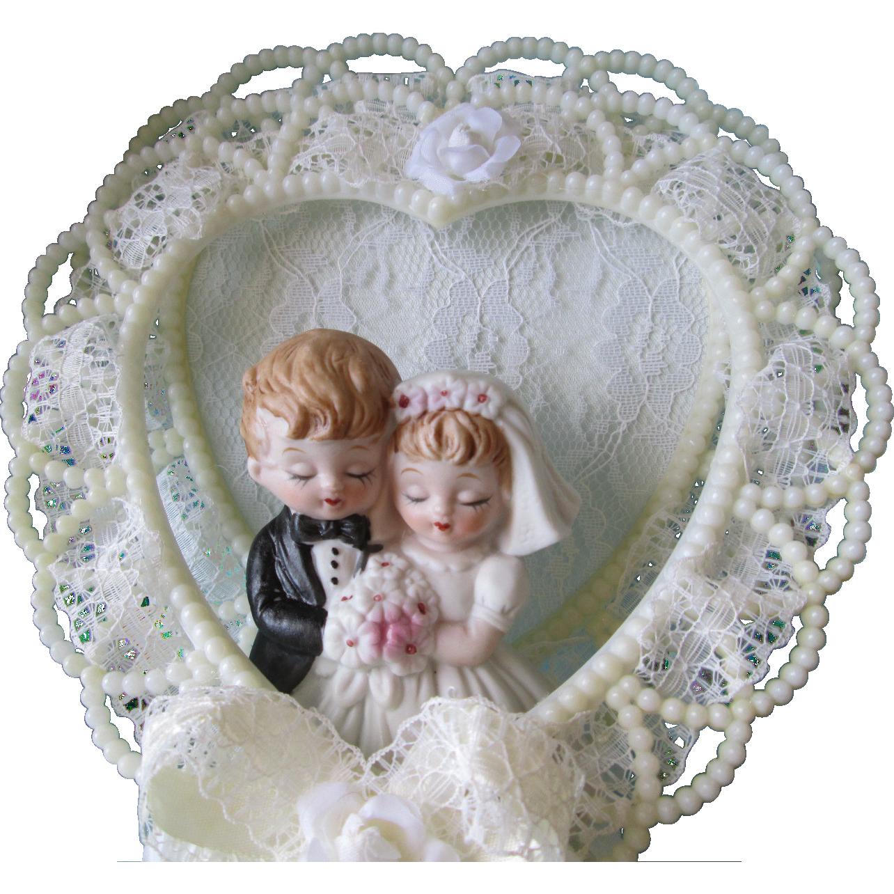 Cake Topper Porcelain Dolls Vintage 1980s Wedding Original