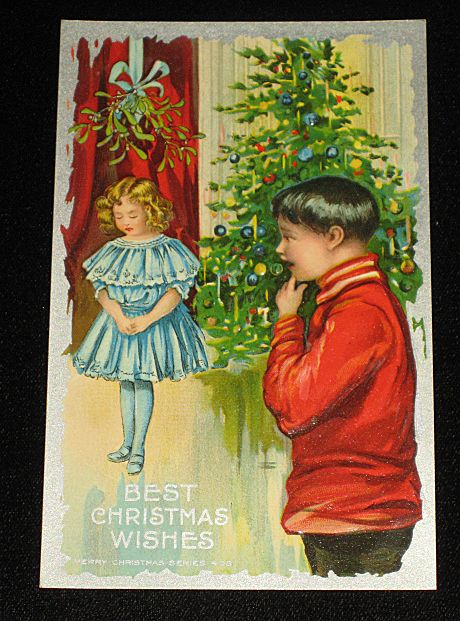 Antique Embossed Postcard-Young Girl Under Mistletoe w/Young Boy Looking On-Xmas Tree in Background-&quot;Merry Christmas Series 403&quot;-Unused