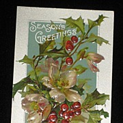 Antique Embossed Postcard-Holly, Berries & Pink Flowers-�Merry Christmas Series 403�-Unused