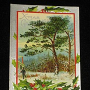 Antique Embossed Postcard-Holly, Berries, Tree�s & Man with Ax-Merry Christmas Series 403�Unus