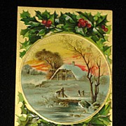 Antique Embossed Postcard-Holly, Berries & Snowy Country Scene w/Home & Burning Fireplace- ...