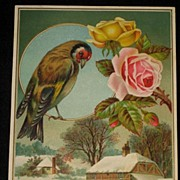 Large Antique Card with Embossed Roses, Bird & Snowy Scene