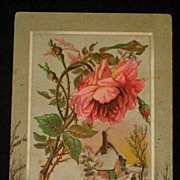 Large Antique Card with Embossed Pink Rose/Leaves & Snowy Scene