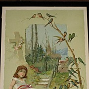 Antique Woolson Spice Advertising Easter Card with Young Girl, Cross & Tree Branch Full of Blu