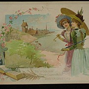 Antique Woolson Spice Advertising Easter Card with Two Beautiful Young Ladies, Bible & Cross .