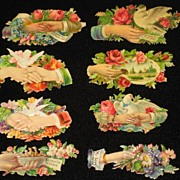 Eight Victorian Embossed Die Cuts with Hands, Roses, Flowers, Doves & Some Phrases-From 1886 S