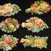 Six Victorian Embossed Die Cut Hand Scraps with Roses, Flowers from 1886 Scrapbook