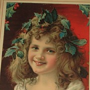 Gorgeous Antique Vintage Framed Christmas Girl w/Holly/Berries Litho with Metropolitan Life In