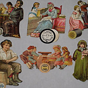 Six Victorian Cut-Out Scraps Advertising Thread Co.s-Most with Children & Taken from 1886 Scr