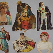 Six Victorian Cut-Outs featuring Gypsy Ladies & One Medieval Dressed Lady-All from 1886 ...