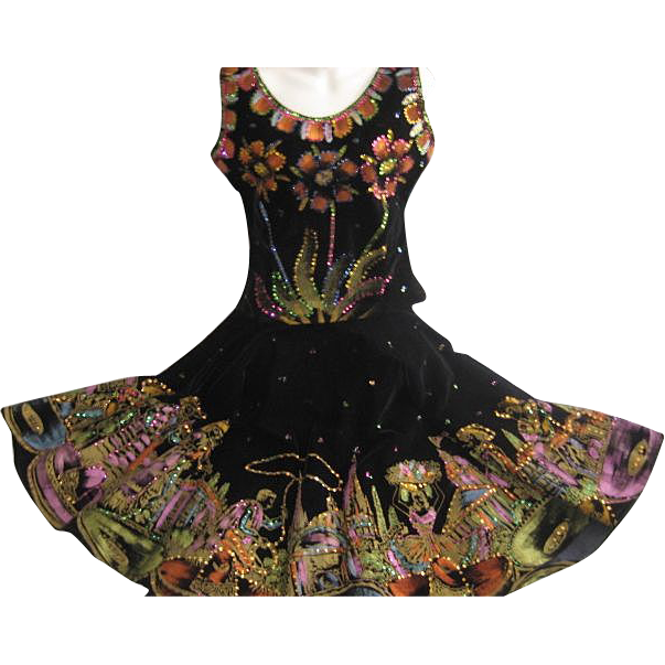 Exceptional Two Piece 1950's Hand Painted & Sequined Black Velveteen Mexican Skirt/Top-Signed Guadalajara-Sz. Small