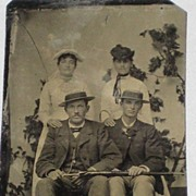 Antique Tin Type of Two Well-Dressed Couples-Men Holding Closed Umbrella or Walking Stick