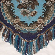 SALE Stunning Large Antique All Beadwork Fireplace Screen Panel with Fringe-Turquoise Floral w