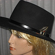 1980�s Black Fur Cowboy Style Hat by Koala Blue-Olivia Newton-John�s former Boutique
