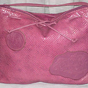 C. 80�s Carlos Falchi Muted Raspberry Snakeskin Shoulder Purse-Never Used w/Tag