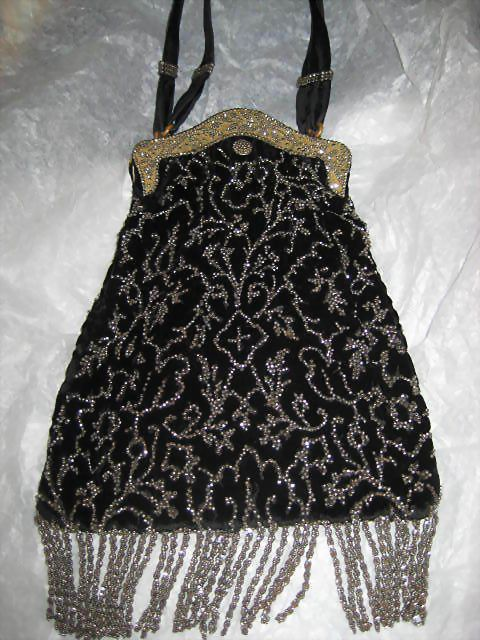 Outstanding 1920's Black Velvet & Steel Beaded Purse with Steel Beaded Fringe
