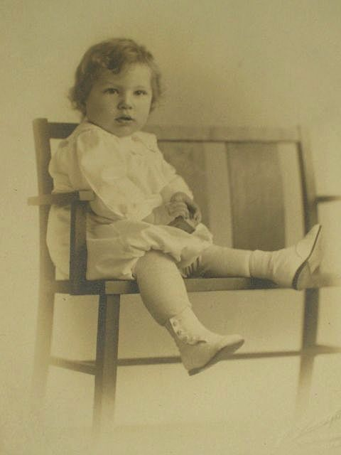Antique Photo of Young Child Holding Block & Sitting on Chair