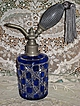 Stunning Antique C.1900�s Cobalt Blue Cased Cut Glass Perfume Atomizer