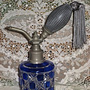 SALE Stunning Antique C.1900�s Cobalt Blue Cased Cut Glass Perfume Atomizer