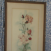 Antique Signed 1913 Roses Water Color Painting Framed
