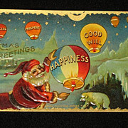 SALE Antique Embossed Postcard-Santa Lighting �Happiness� Hot Air Balloon-Merry Christmas Seri