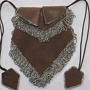 Gorgeous 1920s Brown Leather & Suede Purse with Tons of Steel Beaded Fringe