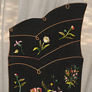 Victorian Hanging Letter, Paper, Postcard Holder with Hand Embroidered Multi-Color Flowers-Stu