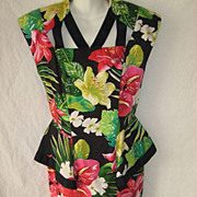 Gorgeous 1980s Black Cotton Floral Dress with Peplum, Unusual Neckline & Back-By Barbara Barb