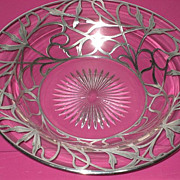 Vintage Silver Overlay Curved Shallow Glass Bowl