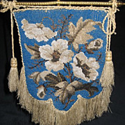 Antique Victorian Tabletop Beaded Face / Fire Screen on Stand