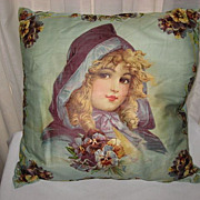 SALE Rare Antique Frances Brundage Lithograph Pillow-Young Girl in Purple Cape with Pansies