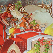 1908 Embossed Postcard of Santa Driving Car with Dolls, Toys-Unused