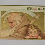 1913 Embossed Brundage New Year Postcard with Father Time & Young Girl-With Panama-Pacific Exp