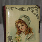 Victorian Celluloid Photo Album with Brundage Green Bonnet Young Girl