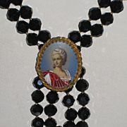 Exquisite Original by Robert Jet Black Faceted HP Cameo Necklace w/Beautiful Woman