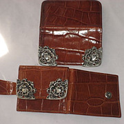 2 Piece 1980s Ann Turk Moc Croc Leather Wallet & Card Holder w/Ornate Pewter Trim